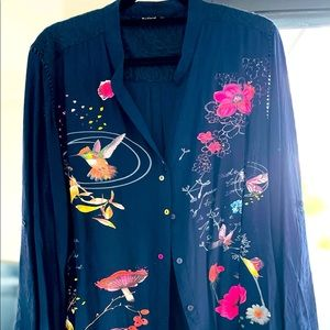 Desigual size XXL floral detail blouse/shirt